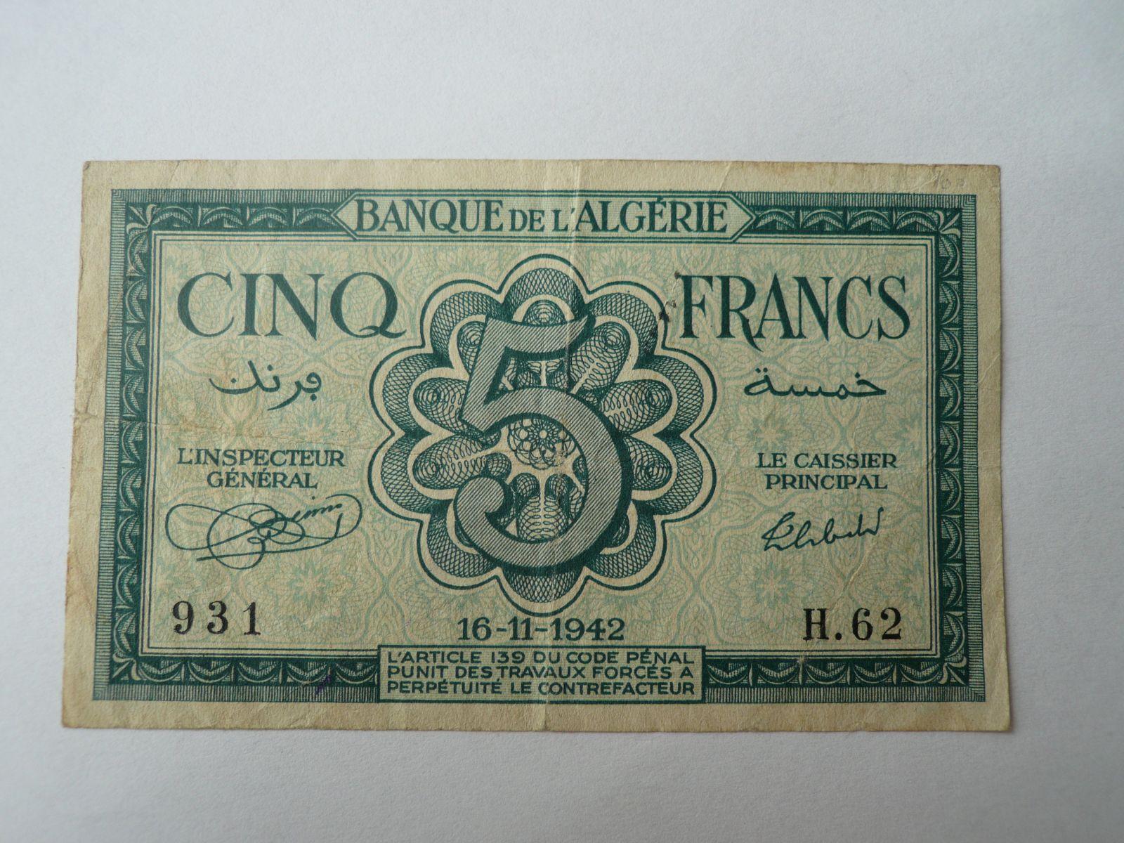 5 Frank, 1942, Alžír