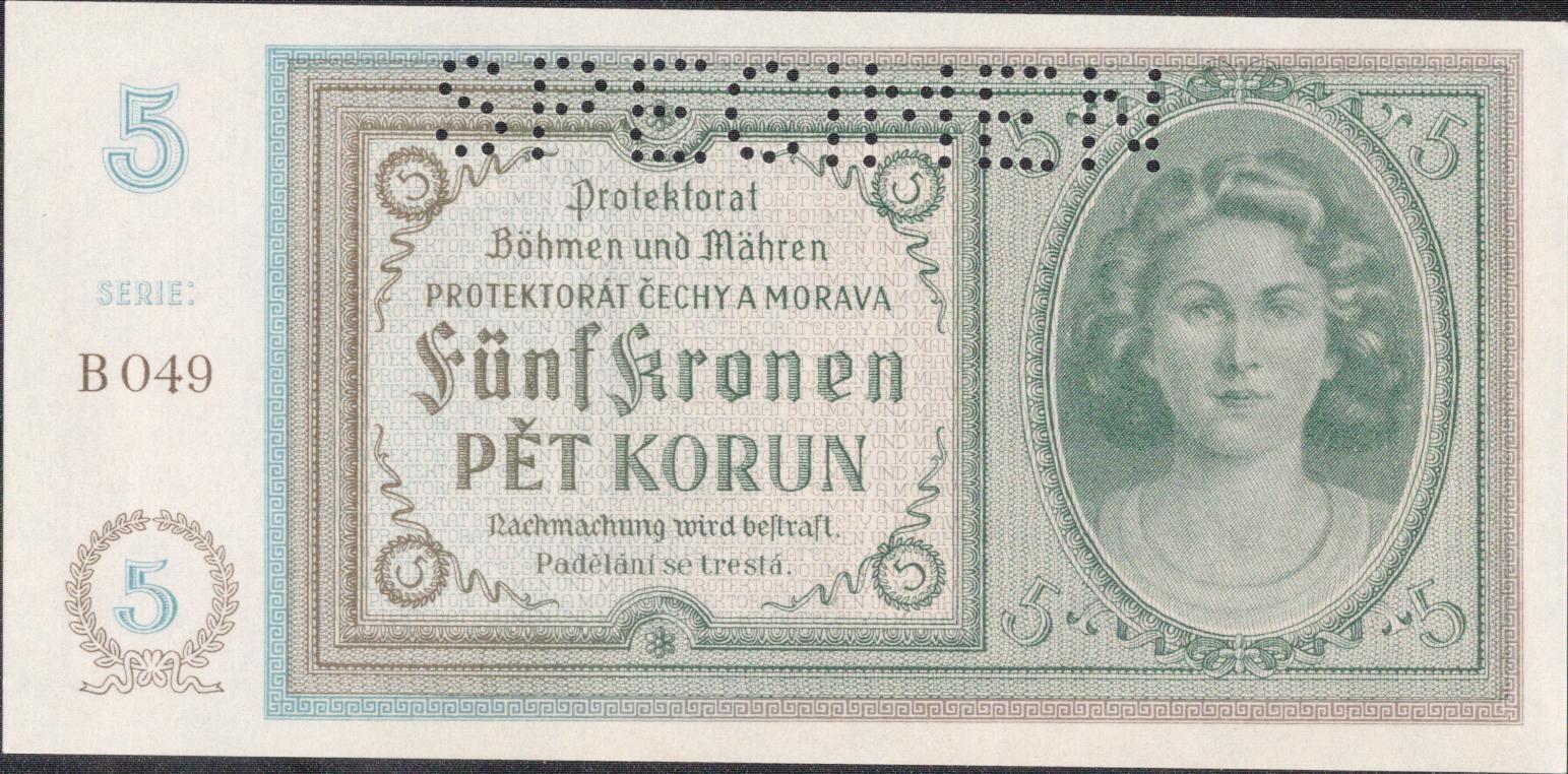 5K/1940/, stav UNC perf. SPECIMEN, série B 049