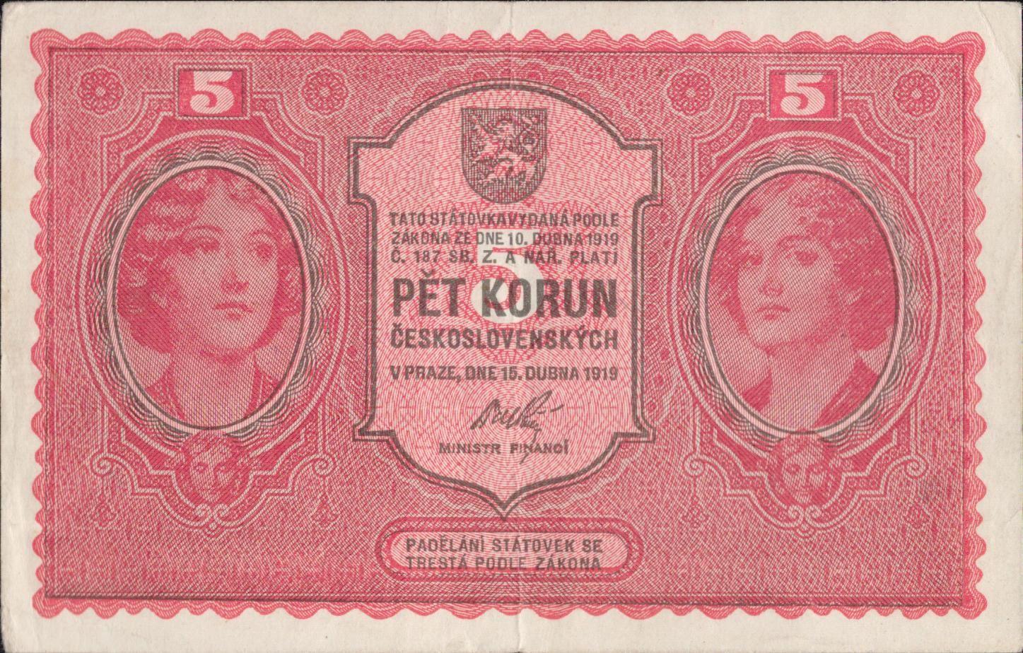5Kč/1919/, stav 1-, série 0082
