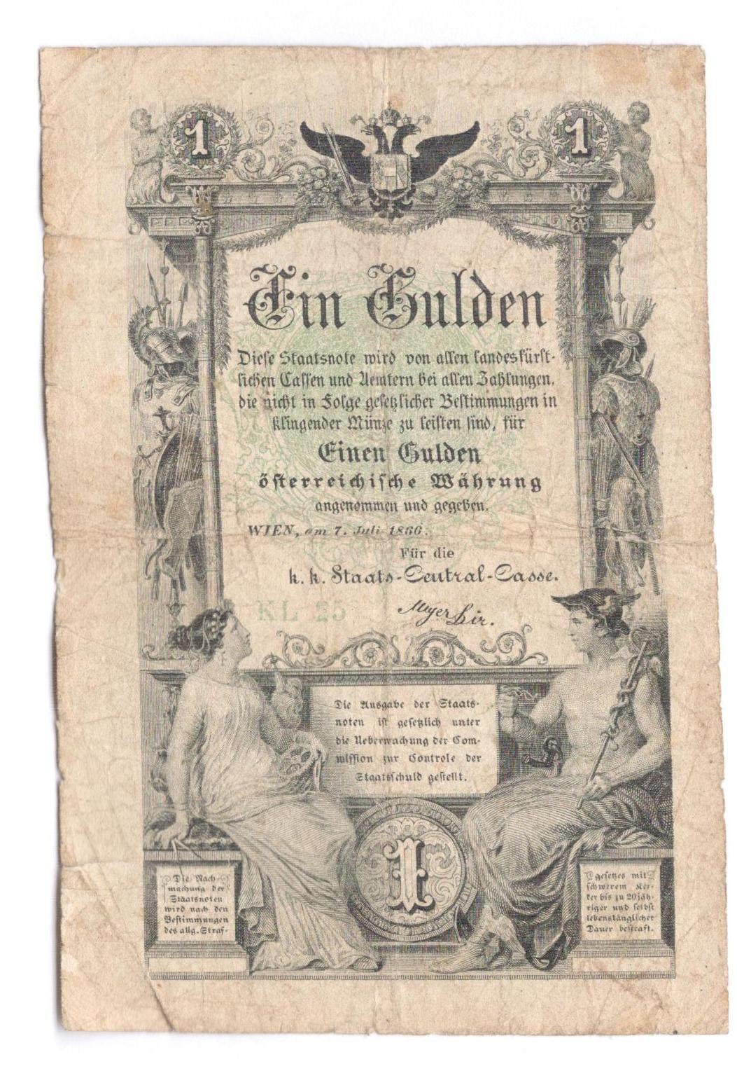 1Gulden/1858/, stav 3, série B 49