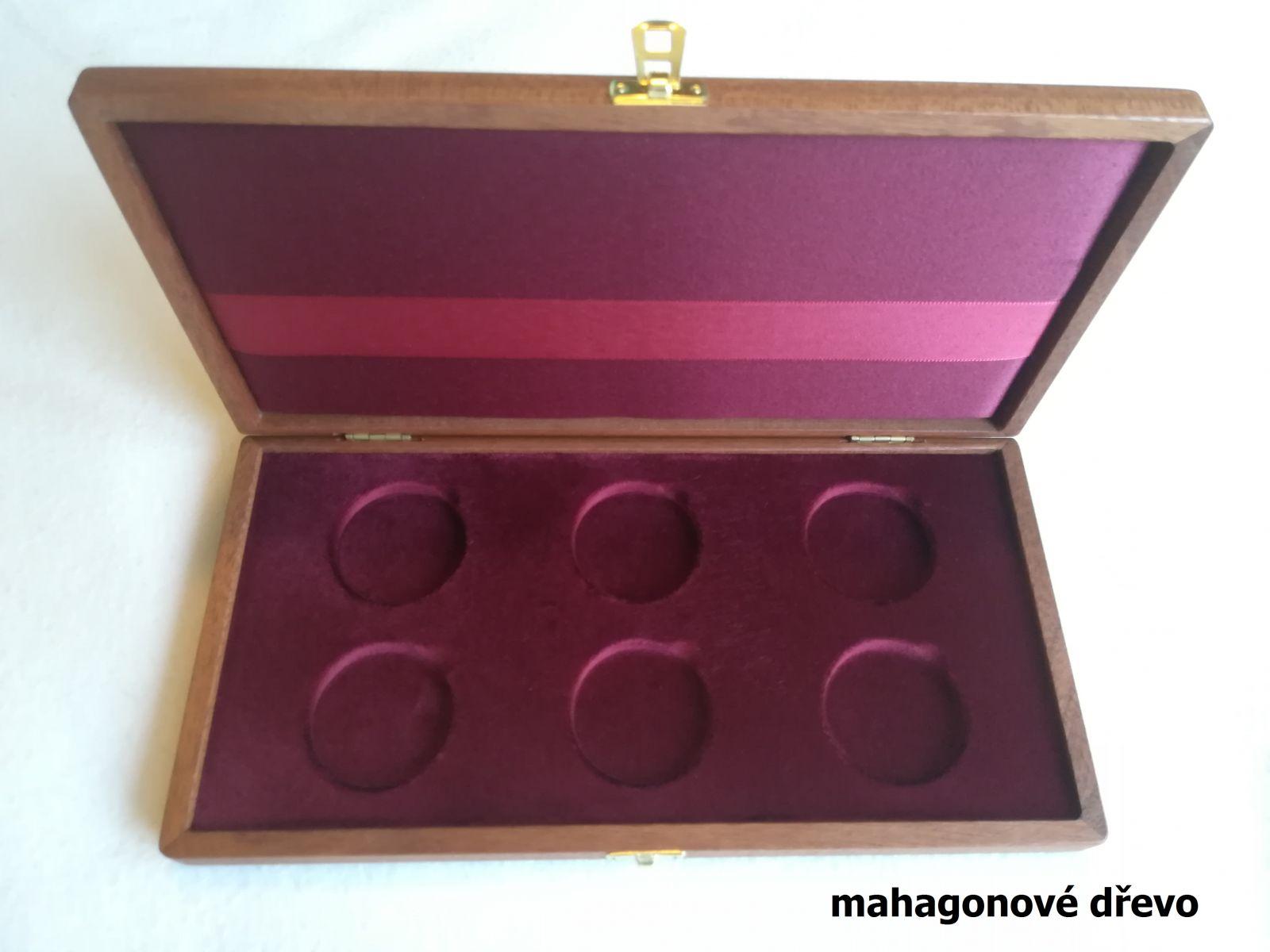 Dřevěná etue k uložení 6ks mincí 10000Kč (Bula, K+M, Hus, ČSR, měna, Ludmila)