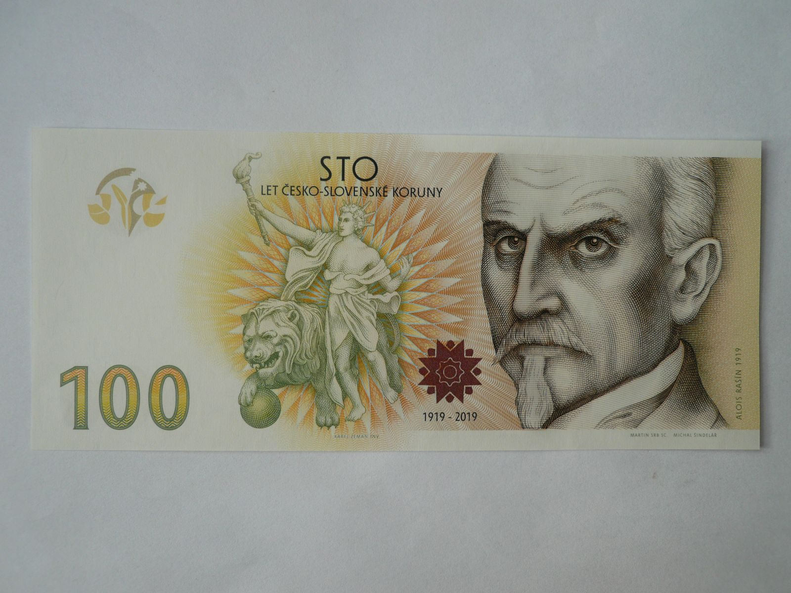 Oceněný nepřijatý návrh pamětní bankovky 100Kč 2019 - Alois Rašín, série D, originální balení STC