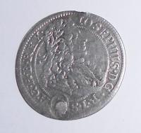 Slezsko – Břeh 3 Krejcar 1707 Josef I.,zaletovaná dirka