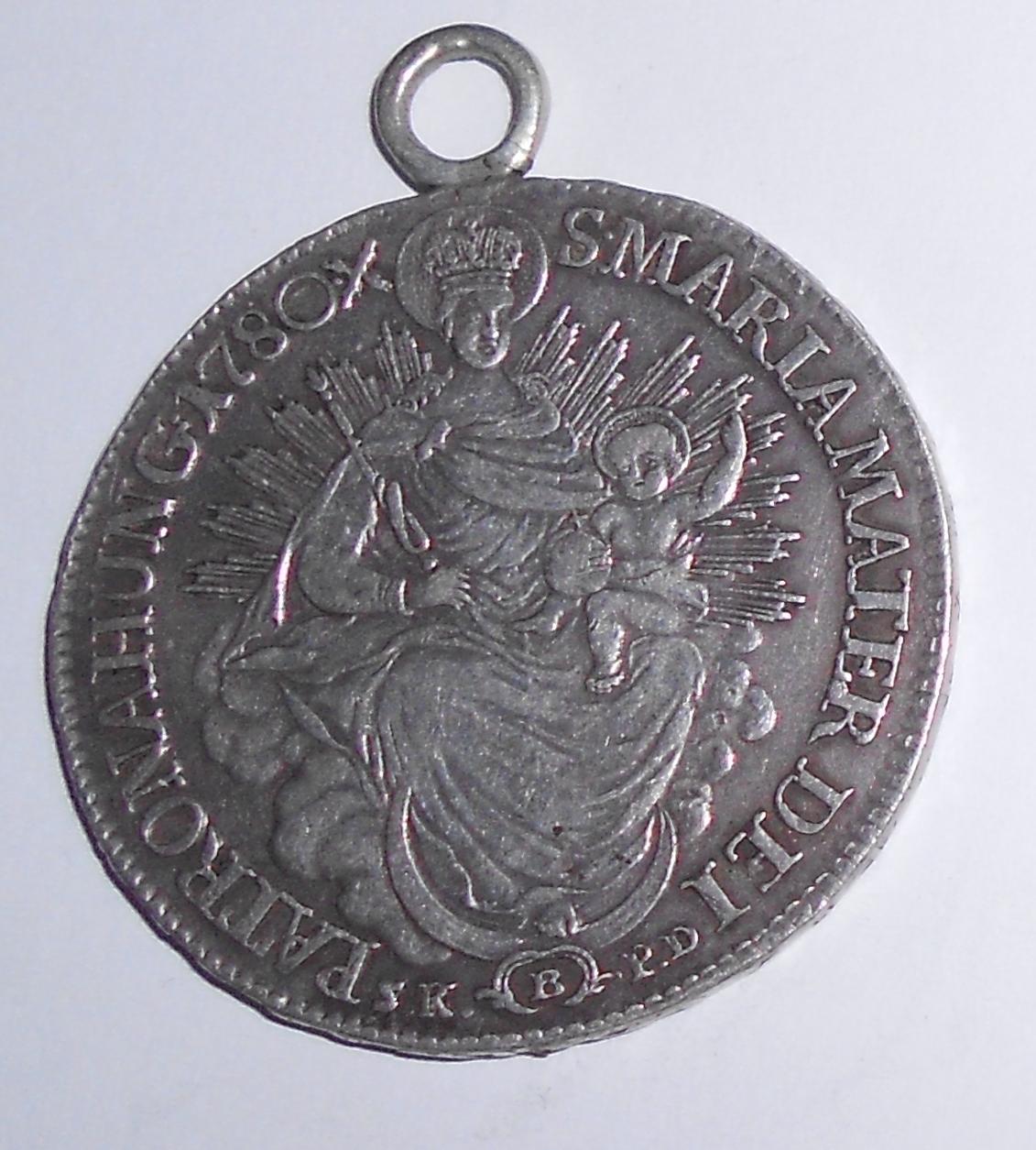 Uhry 1/2 Tolar 1780 B Marie Terezie, dobové ouško