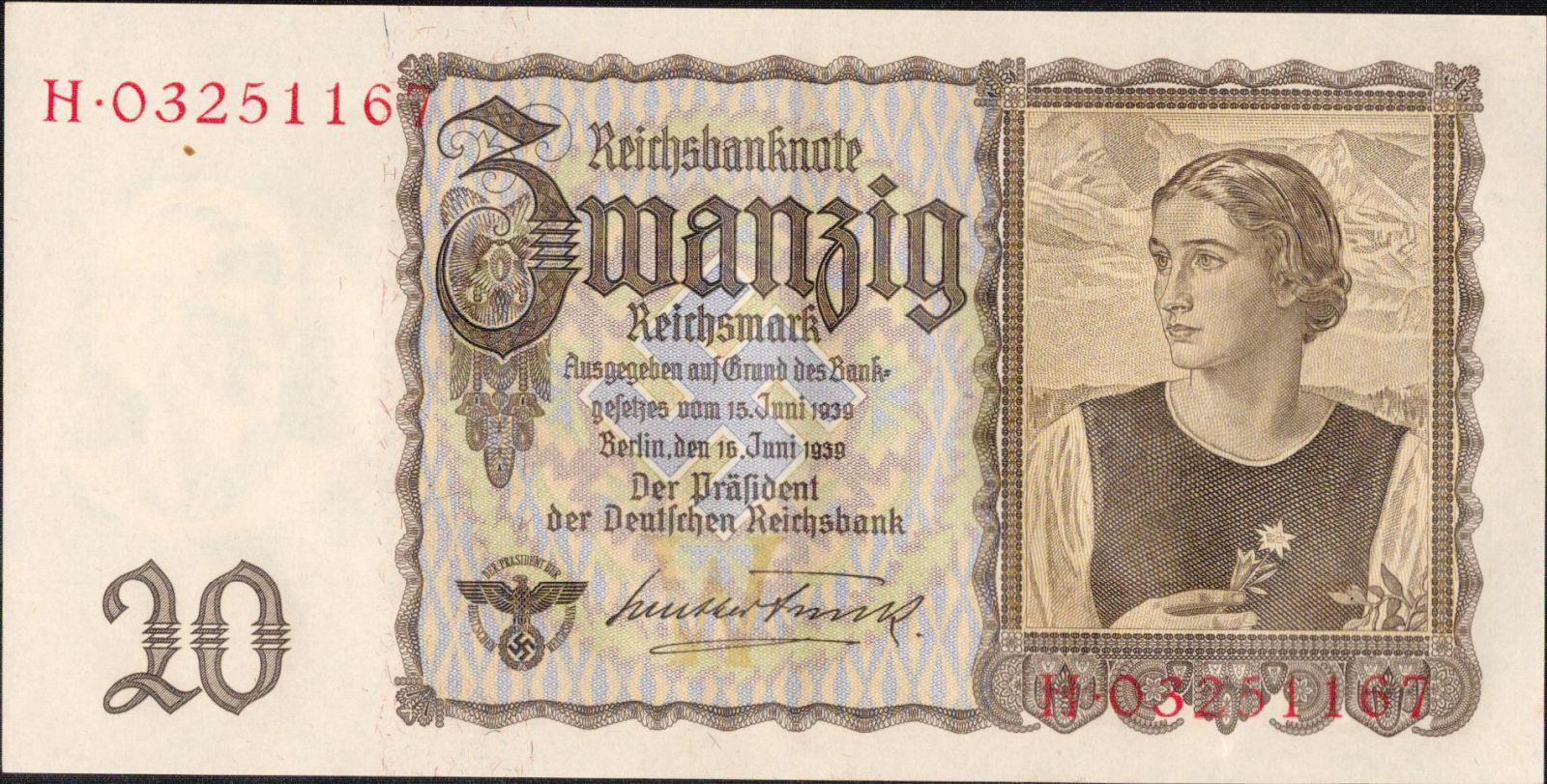20Reichsmark/1939/, stav 1++, série H/W nebo I/W