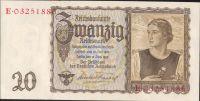 20Reichsmark/1939/, stav UNC, série E/W nebo I/W