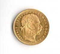 8 Zlatník/20 Frank (1883-Au 900-6,425g-ražba KB), stav 1+/1+