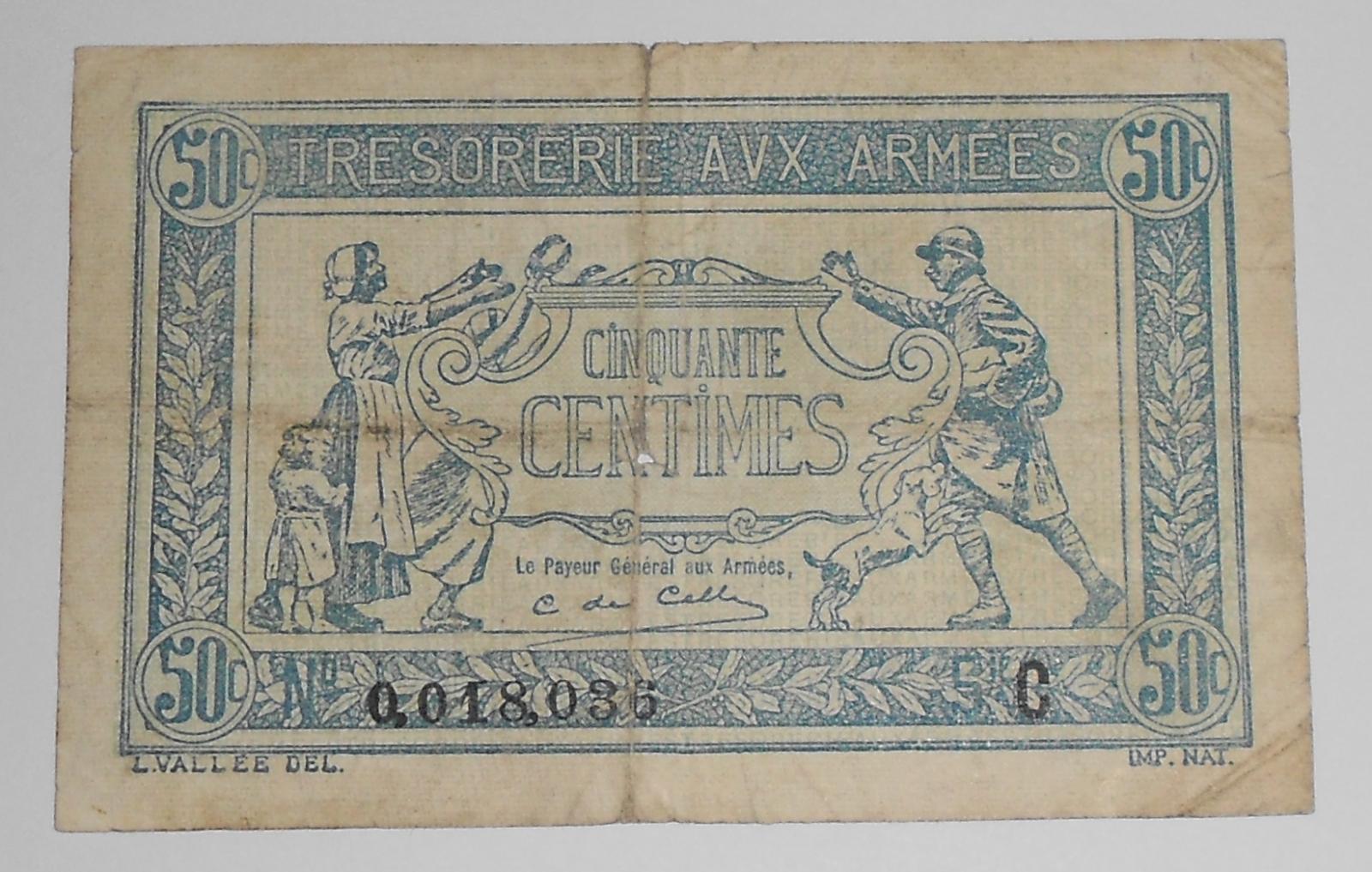 Francie 50 Centimes Návrat vojáků ze světové války