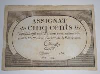 Francie 500 Livres 1794 Assignát