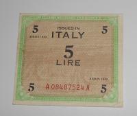 Itálie – vojenská okupace 5 Lira 1943
