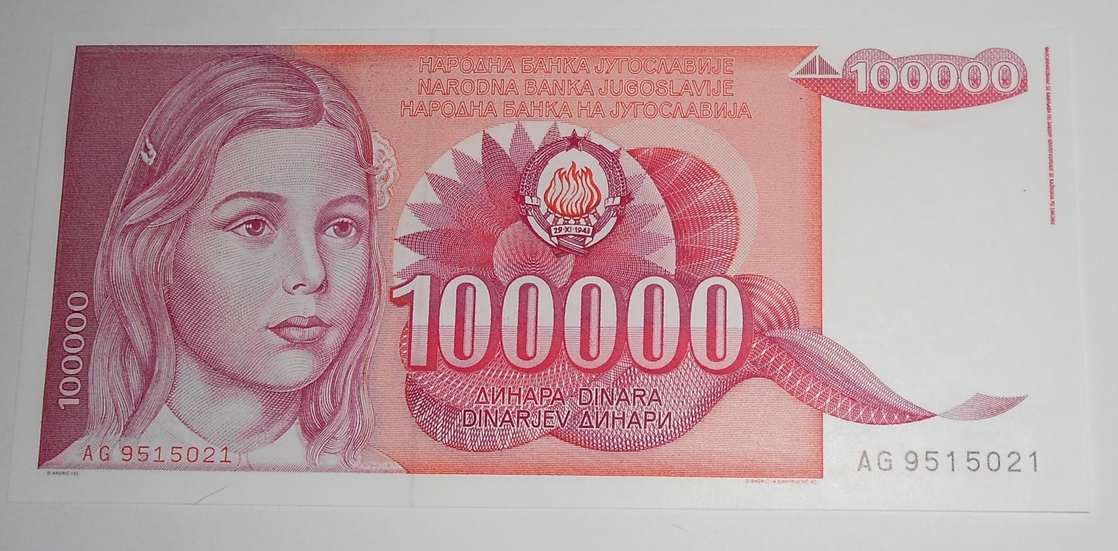 Jugoslávie 100 000 Dinárů 1989