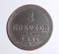 Rakousko 1 Krejcar 1851 A, stav