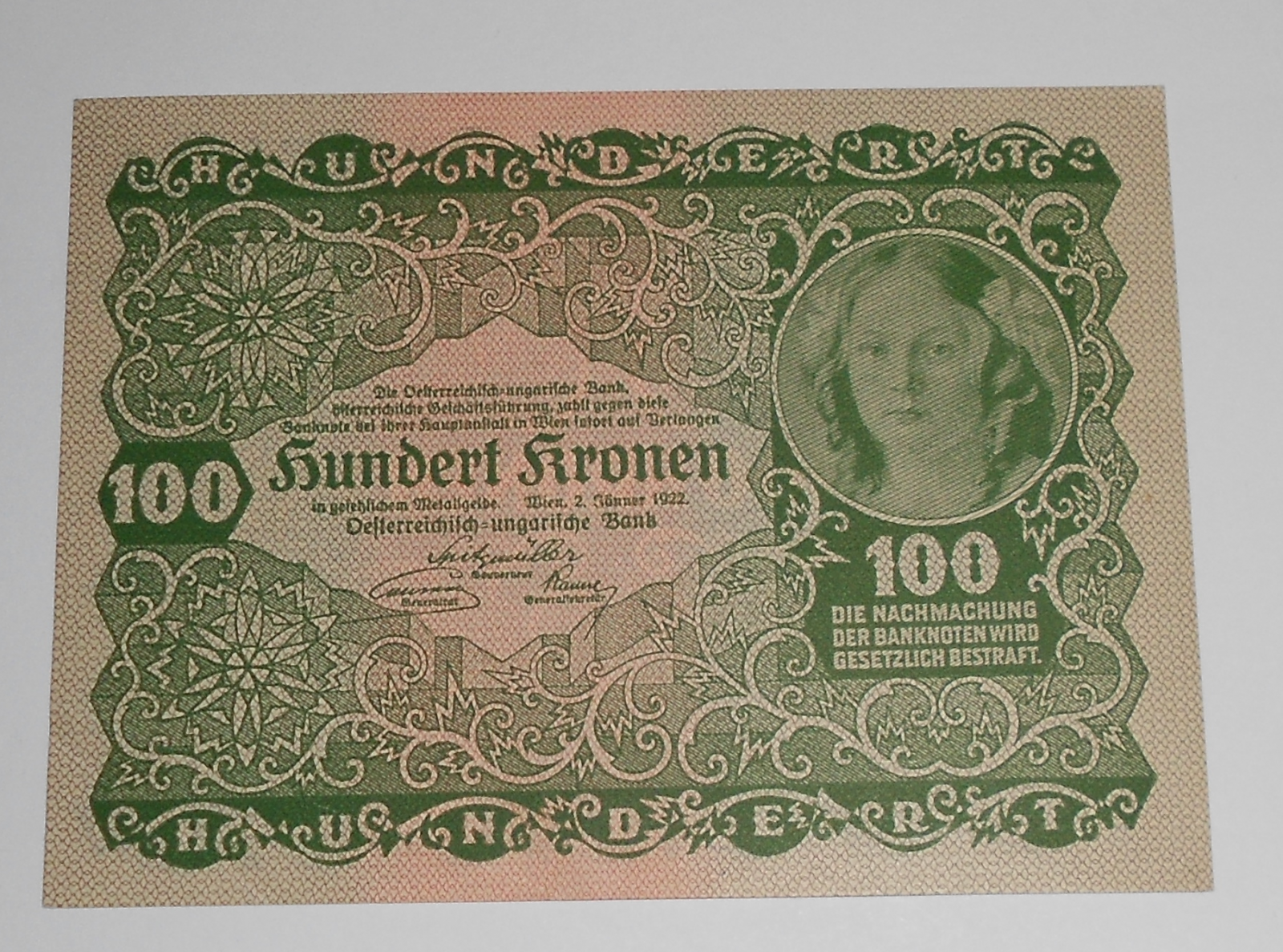 Rakousko 100 Kroner 1922