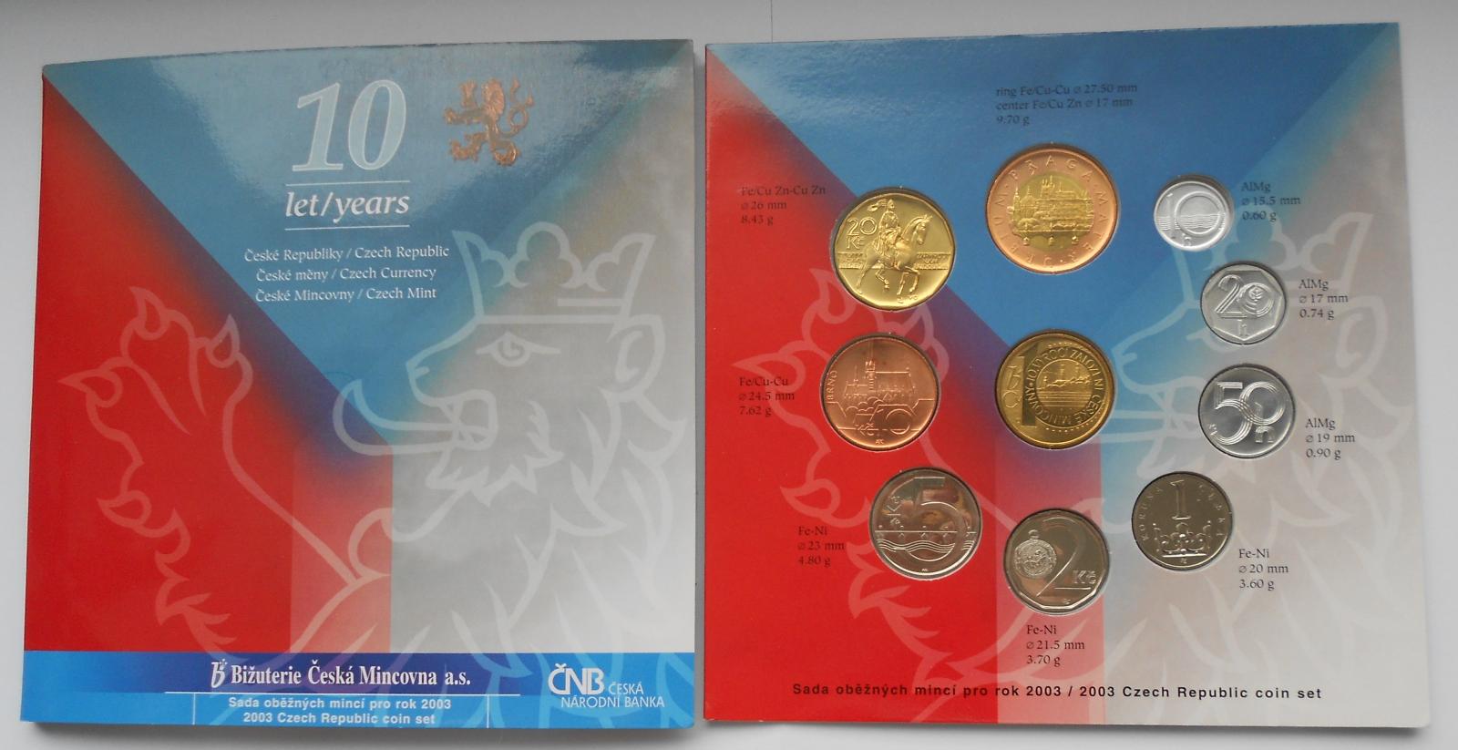 Ročníková sada (2003-10 let měny), stavy 0/0