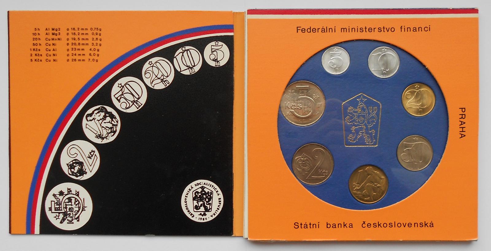 Ročníková sada oběžných mincí ČSSR (1989), stavy 0/0