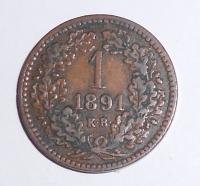 Uhry 1 Krejcar 1891 KB