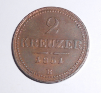 Uhry 2 Krejcar 1851 B