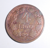Uhry 4 Krejcar 1860 B