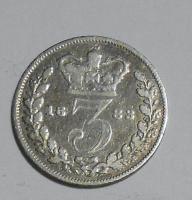Anglie 3 Pence 1883 Viktorie