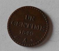 Francie 1 Centimes 1849 A, stav