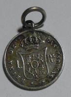 Španělsko 1 Reis 1859, dobové ouško