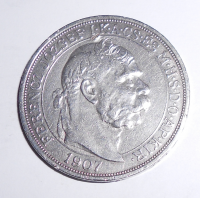 Uhry 5 Koruna 1907 KB Korunovační