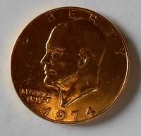 USA 1 Dolar 1974, zlacený