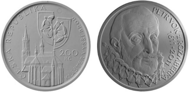 200 Kč(2011-Petr Vok z Rožmberka), stav PROOF, etue, certifikát