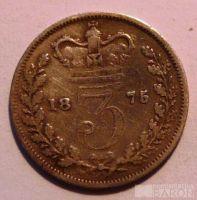 Anglie 3 Pence 1875 Viktorie