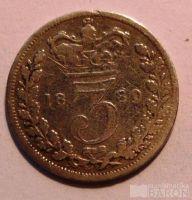Anglie 3 Pence 1880 Viktorie