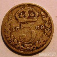 Anglie 3 Pence 1889 Viktorie