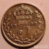 Anglie 3 Pence 1892 Viktorie