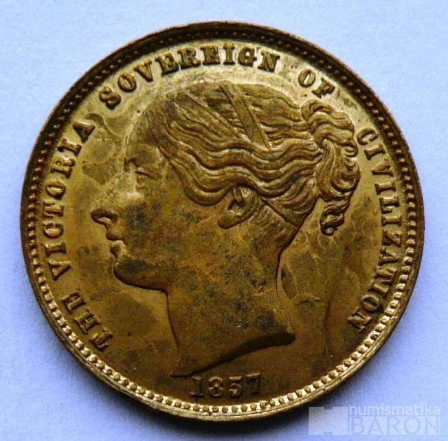 Anglie žeton 1857 královna Viktorie