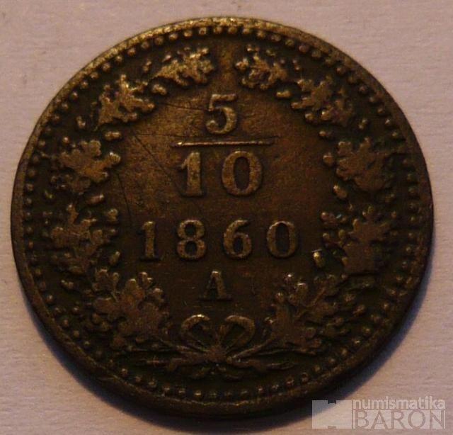 Rakousko 5/10 Krejcar 1860 A