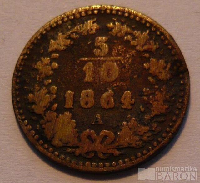 Rakousko 5/10 Krejcar 1864 A