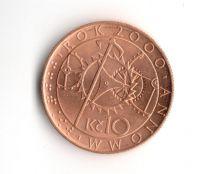 10 Kč(2000-miléniová s vyobrazením orloje), stav 0/0 (ražební lesk)