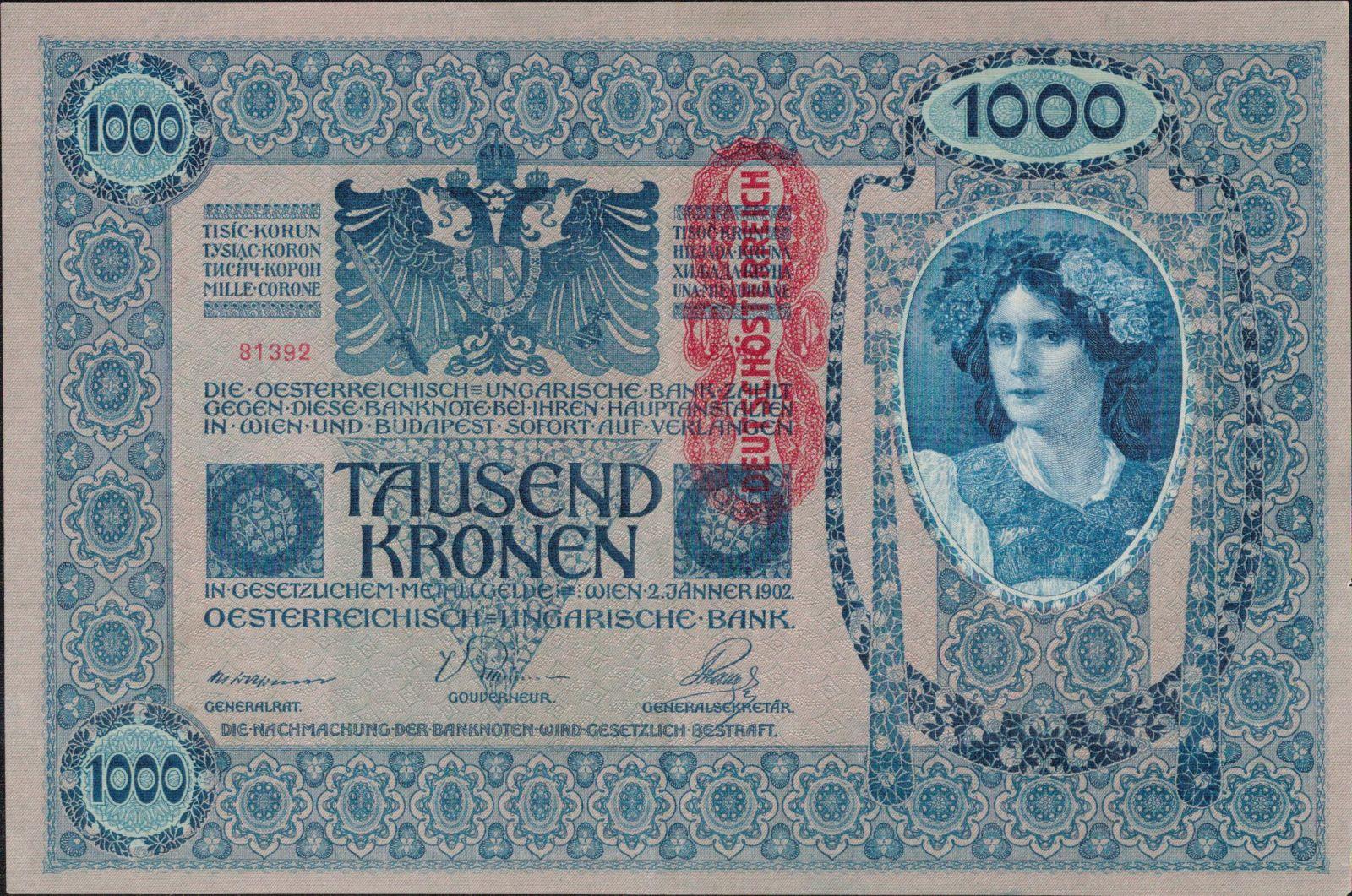 1000K/1902-přetisk Deutschösterreich/, stav 1, růžový podtisk, série 1618