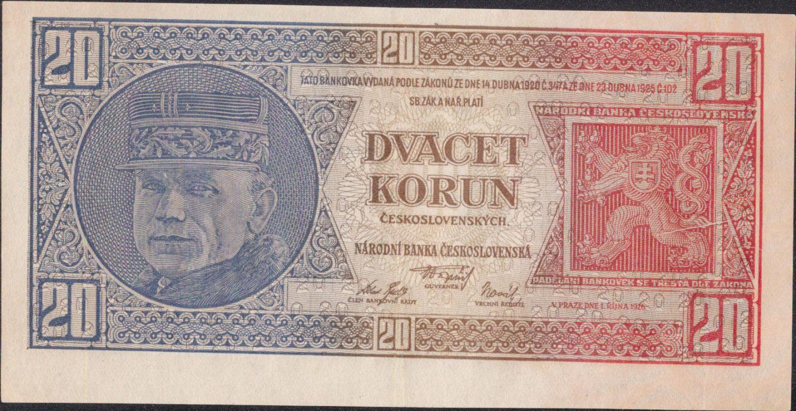 20Kč/1926/, stav 1, série C - tisk Haase