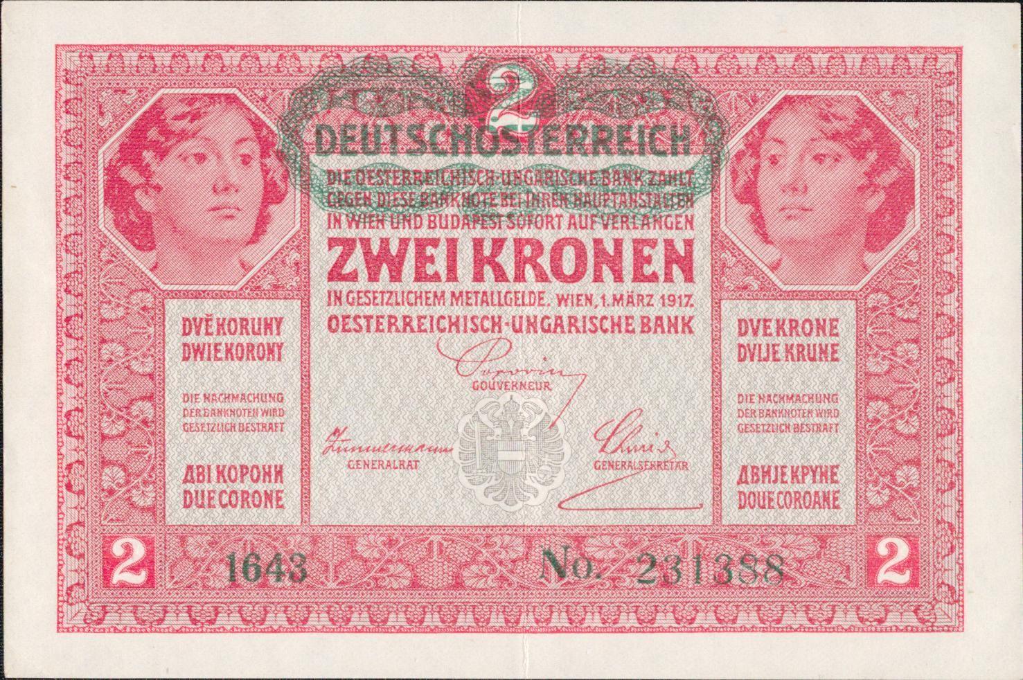 2K/1917-přetisk Deutschösterreich/, stav 1, série 1643