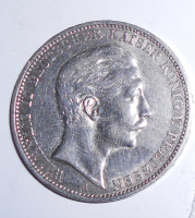 Prusko 3 Marka 1909 Vilém II.