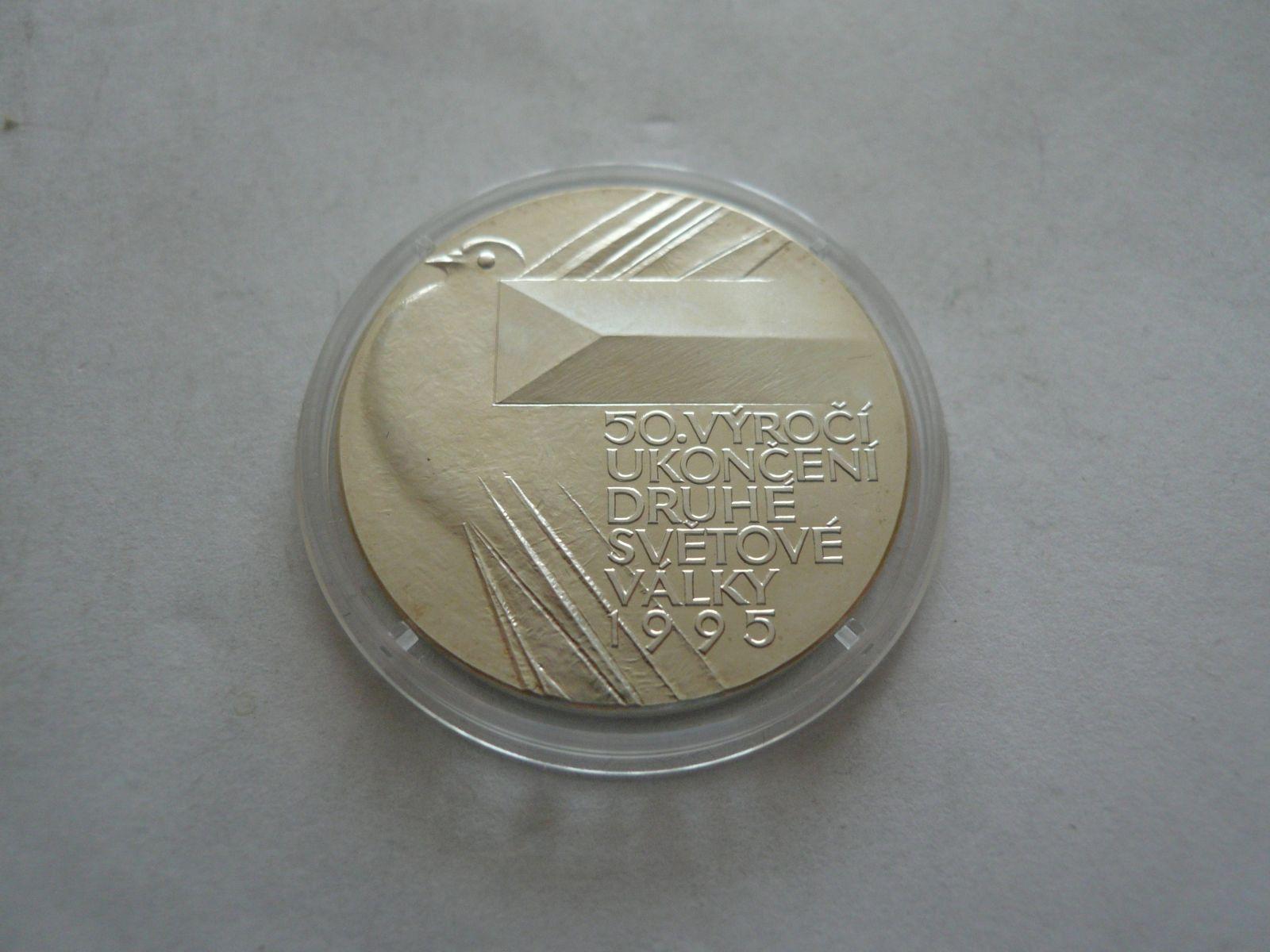 50.výročí 2.sv.války 1995, postříbřená průměr 30mm, ČR