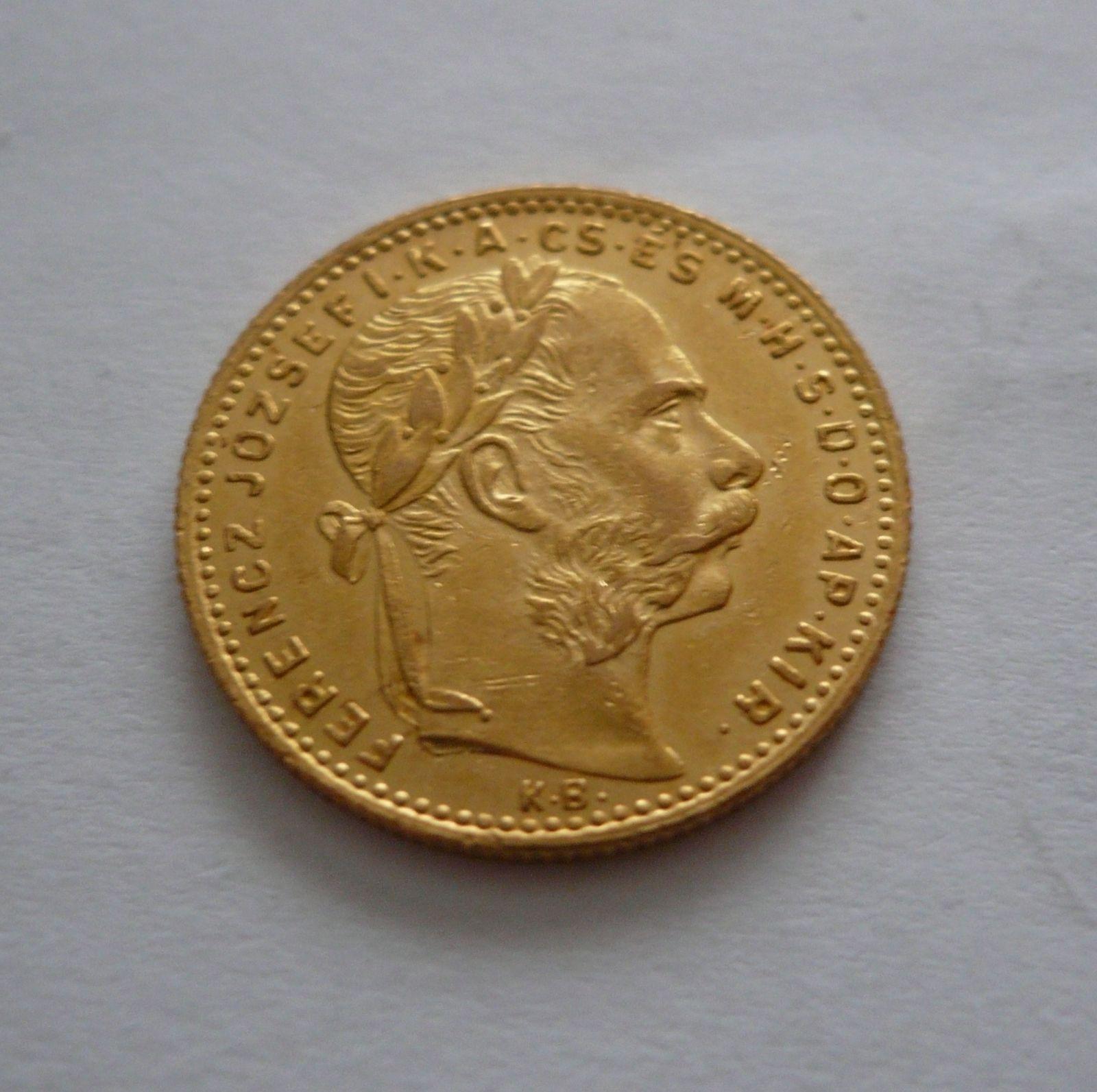 8 Zlatník/Gulden(1887-ražba KB, Au 900, 6,45g)
