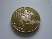 medaile na vstup do EU, zlacený bronz, průměr 40mm, ČR