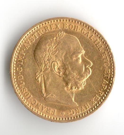 10 Korun(1896-Au 900-3,4g-ražba bz), stav 1/1 hr., vzácný ročník