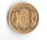 10 Korun(1908-Au 900-3,4g-ražba KB), stav 1/1- dr.hr.