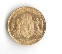 10 Korun(1909-Au 900-3,4g-ražba KB), stav 1/1- dr.hr.