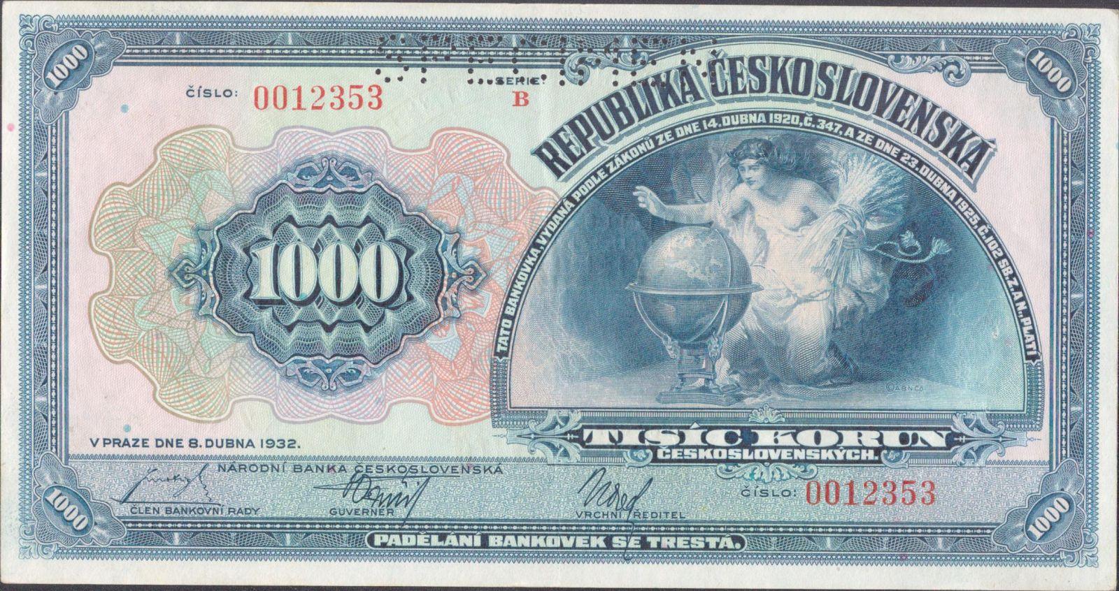 1000Kč/1932/, stav 1 p. perf. SPECIMEN, série B