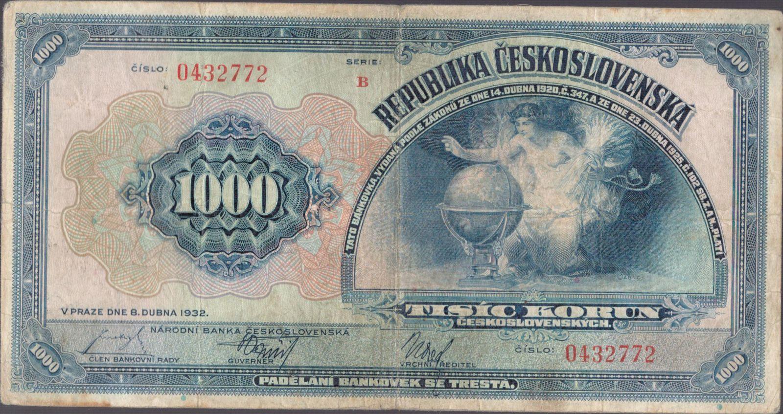 1000Kč/1932/, stav 3-, série B