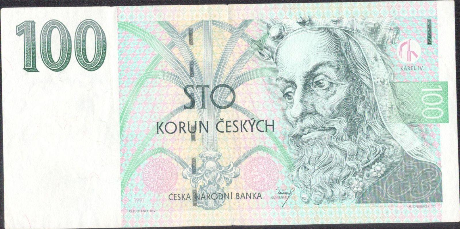 100Kč/1997/, stav 2+, série D 72, chybotisk - světle zelené K