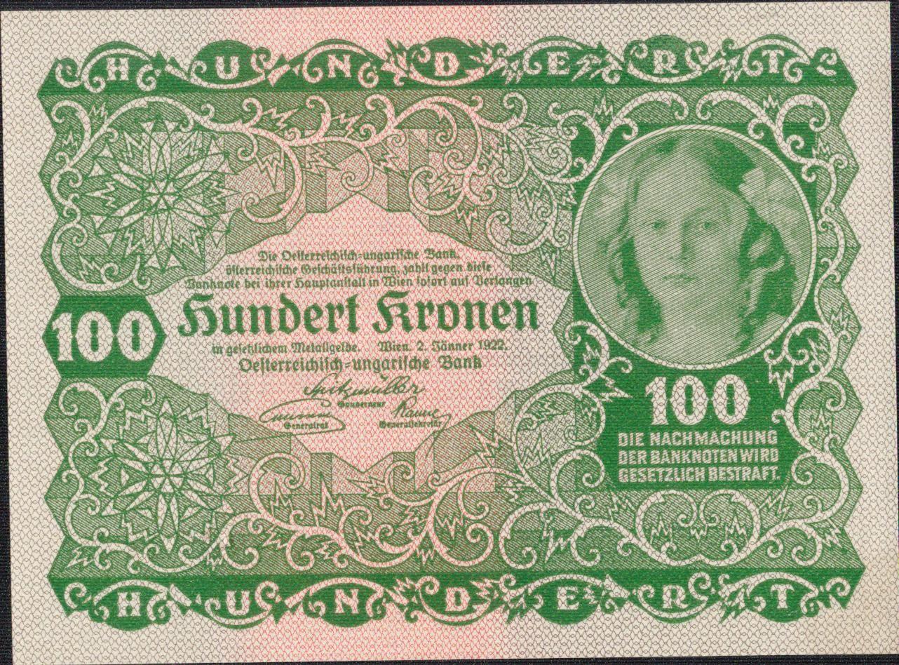 100Korun/1922/, stav 0/UNC